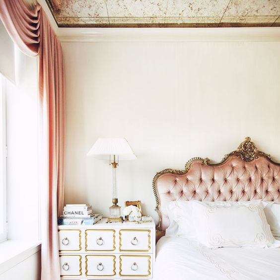 sophisticated tufted blush headboard