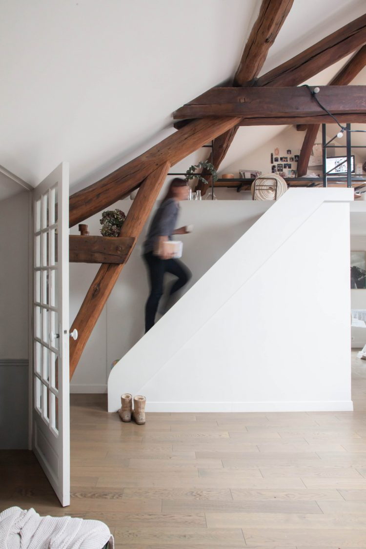 the white staircase is simple and modern