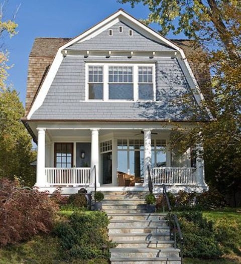 Gambrel gable roof porch