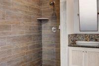 12 faux wood shower tiles