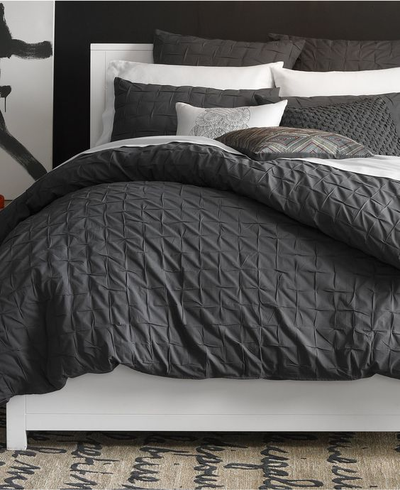 Marvelous masculing grey and white bedding
