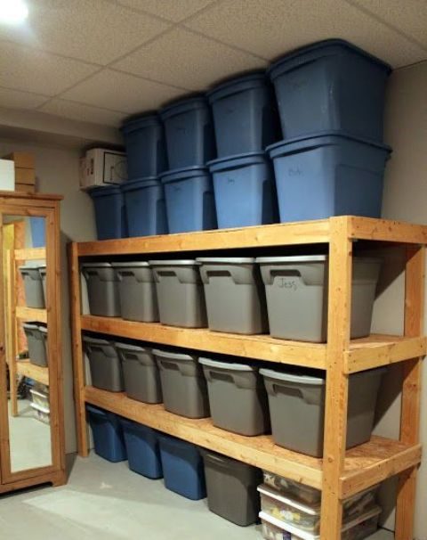 plastic cubbies storage for a basement