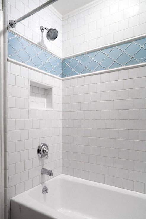 Marvelous blue arabesque tiles for the shower zone