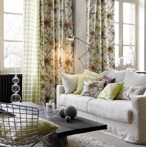 curtains and upholstery of natural fabrics