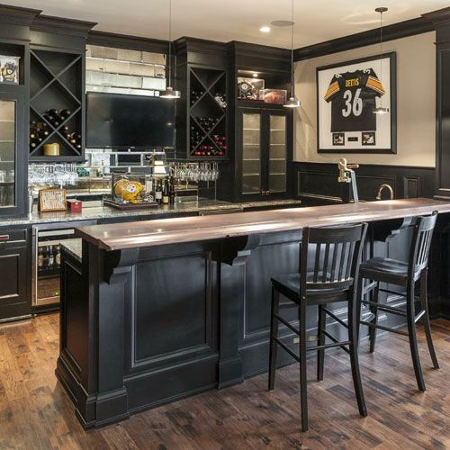 Dark Colored Basement Bar With Wine Coolers