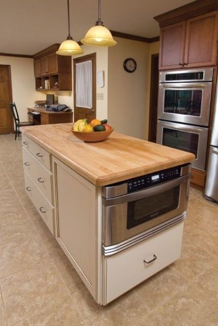 kitchen island with a built-in microwave - 31 Smart Kitchen Islands With Built-In Appliances - DigsDigs