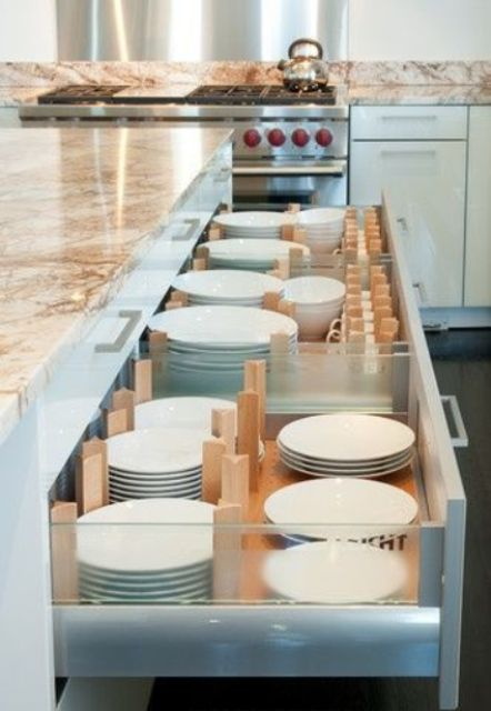 kitchen island with dishes storage