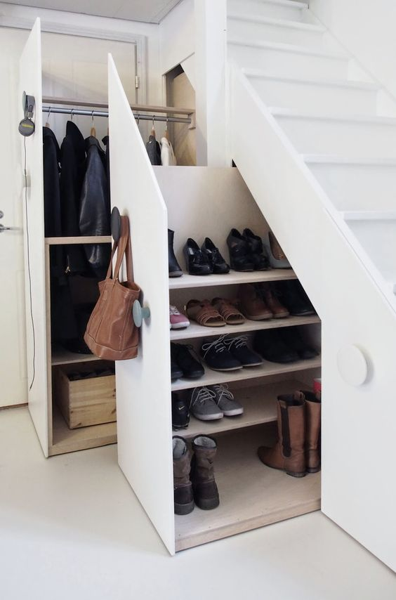 shoes drawers undee the stairs