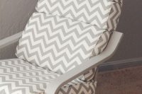14 IKEA Poang hack in grey color and with a chevron cover