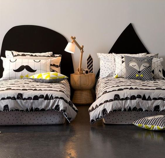 graphic print bedding