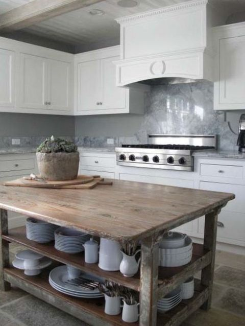 kitchen island with open dishes storage