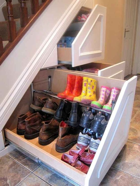 shoes storage under the stairs