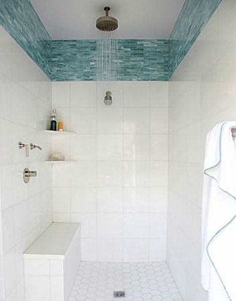 Wide Turquoise Glass Tile Border In The Shower