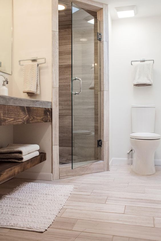 Fresh wood shower tiles