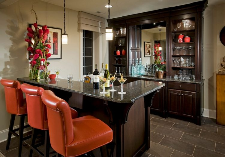 basement bar with orange touches