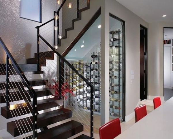 glass wine cellar  under the stairs