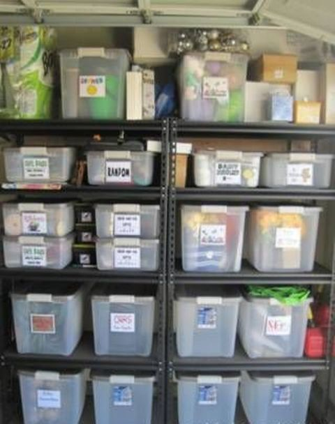 metal framed shelving with plastic tubs