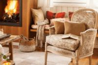 15 patterned beige armchair