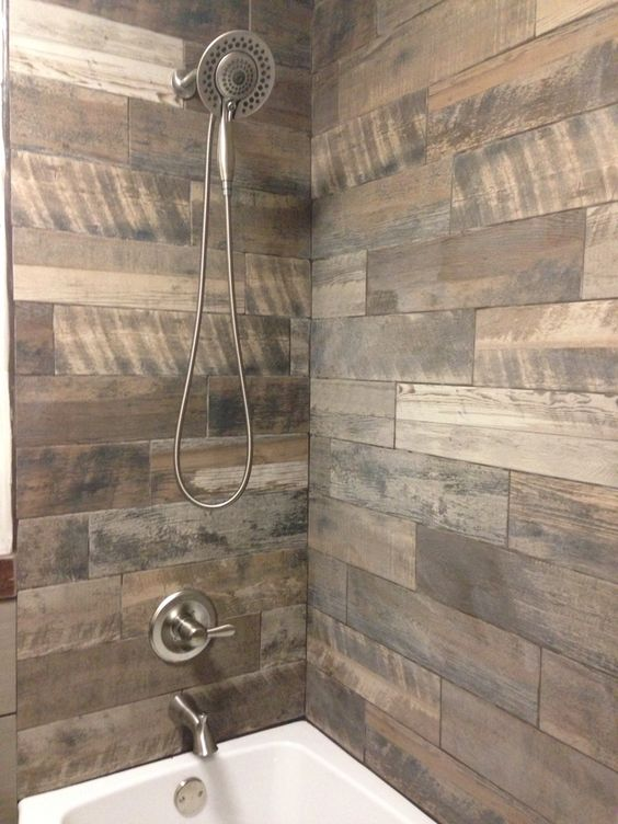 wood inspired shower tiles - Shower Tile Design Ideas