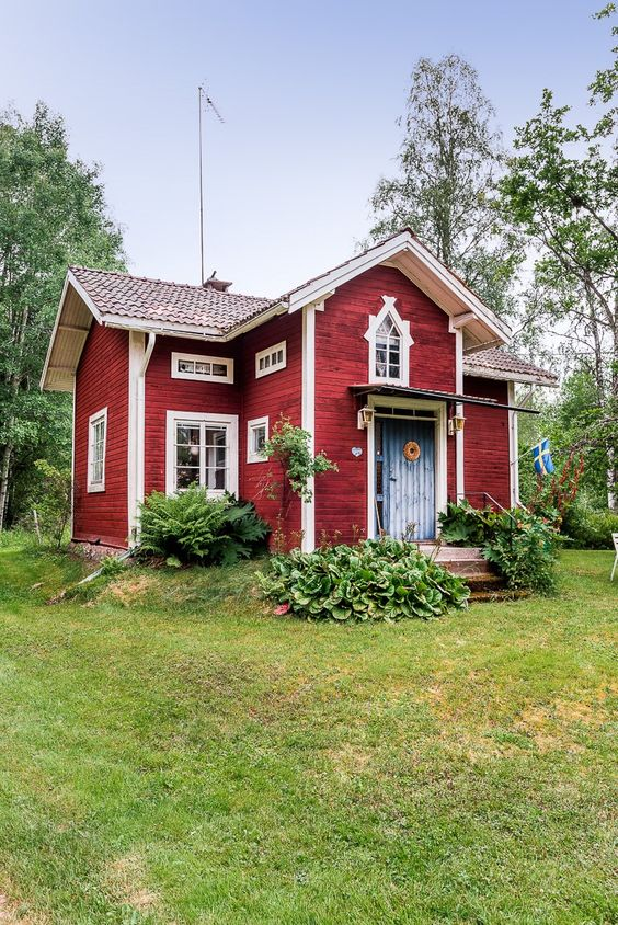 Picture Of Swedish Cottage With A Cross Gable Roof