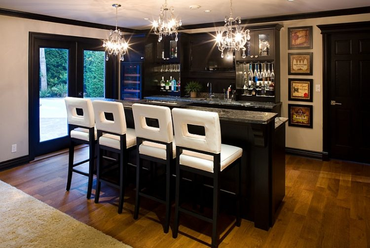 black and white basement bar