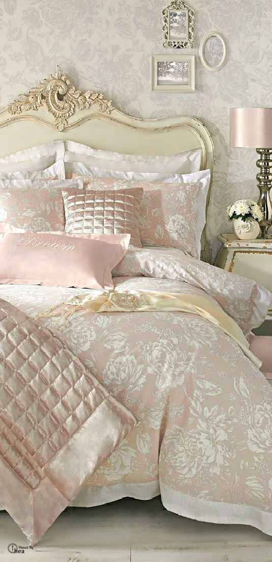 Simple blush floral bedding