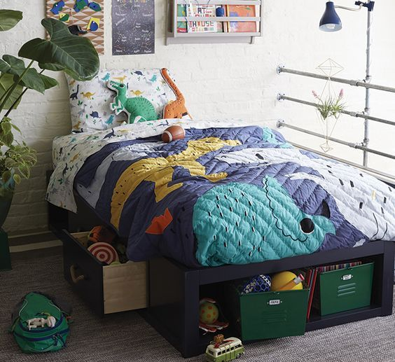 colorful dinosaur bedding