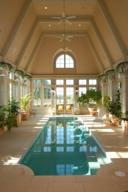 long and narrow indoor pool inside