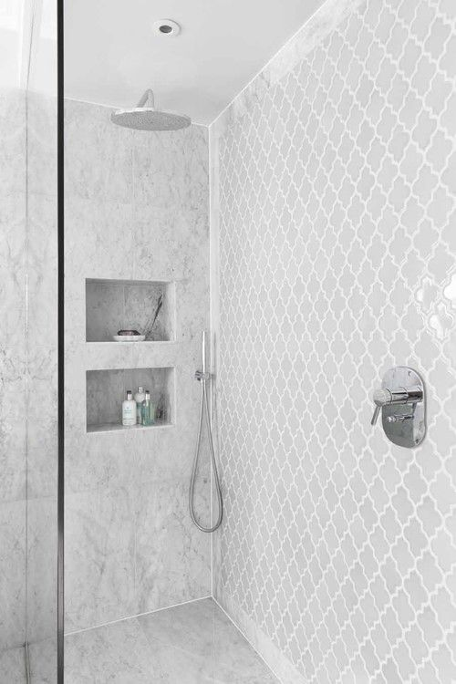 white mosaic tiles - Shower Tile Design Ideas