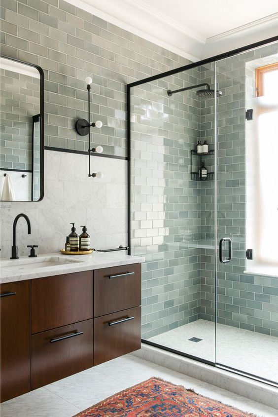 Trend aqua green mosaic shower tiles