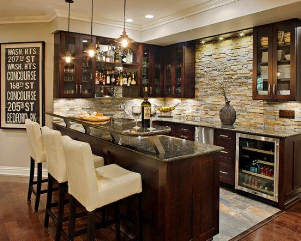 chic dark-colored basement bar with white chairs