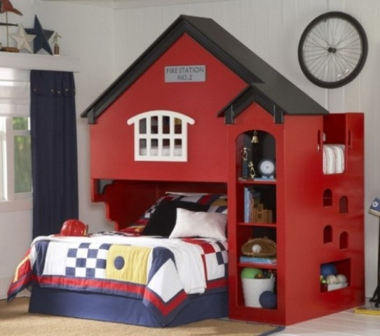 a fire station kid bed