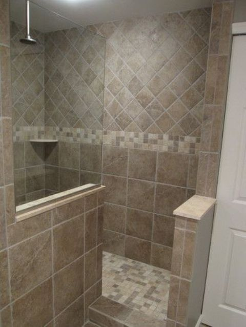 mosaic tiles on the walk-in shower walls