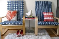17 patterned navy slipcovers for Poang chairs