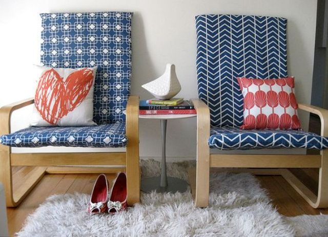 patterned navy slipcovers for Poang chairs