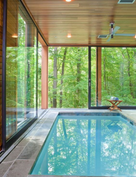a pool inside a glass house to merge with nature