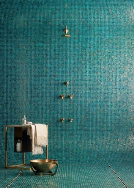 blue glimmer mosaic bathroom tiles
