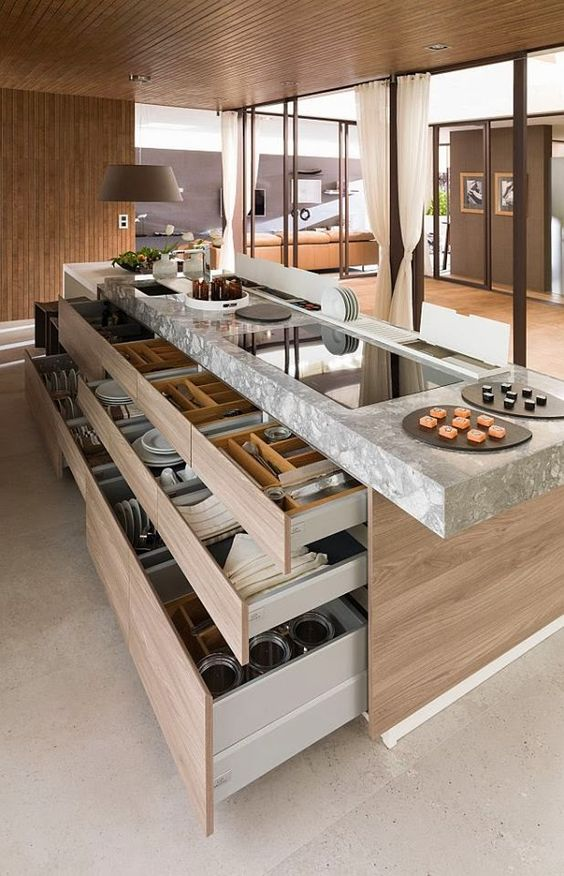 kitchen island with tableware and dishes storage