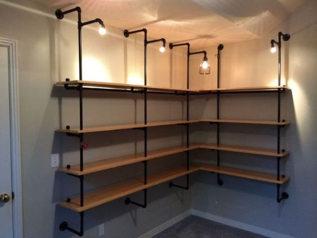 Pipe Wall Basement Shelving