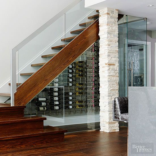 wine cellar under a staircase