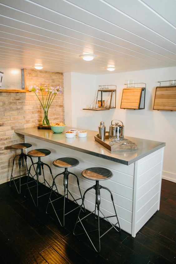 coastal-inspired basement bar