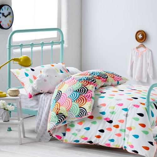Unique colorful raindrop pattern bedding