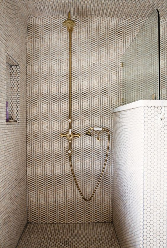 creamy penny shower tiles