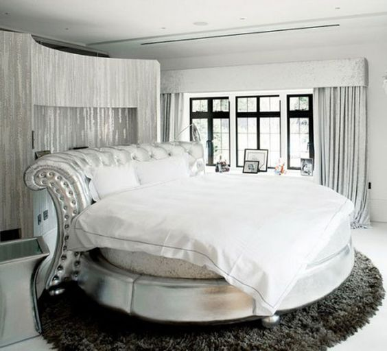 metallic circle bed