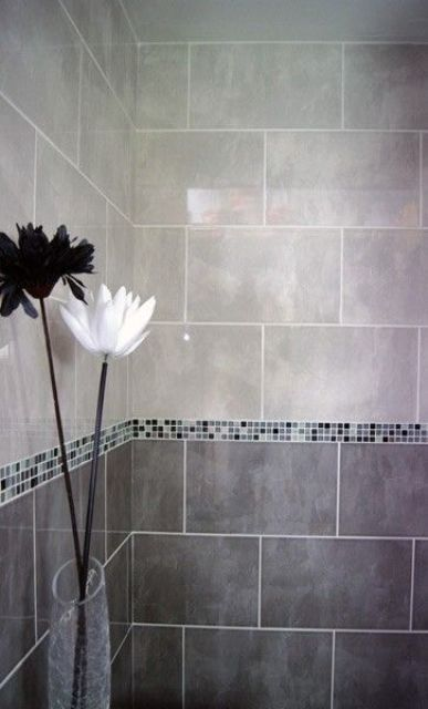 tiny mosaic border tiles for  shower walls