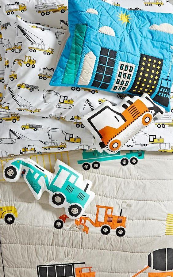 tractor print bedding