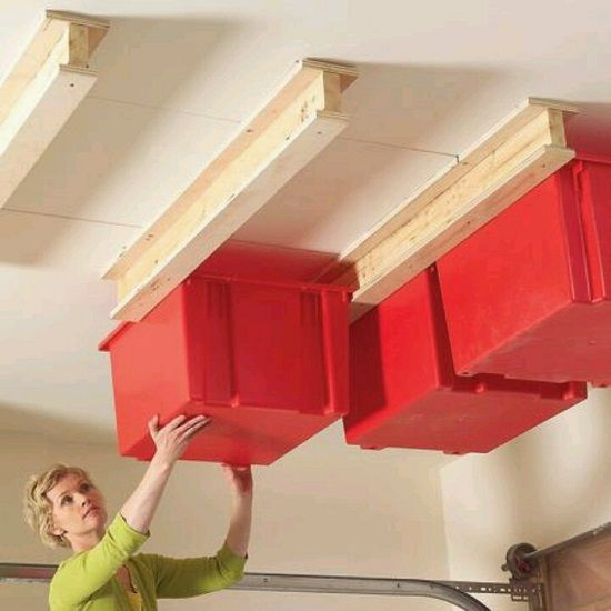 basement ceiling racks with cubbies