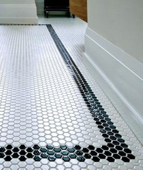 black border mosaic tiles for the bathroom floor