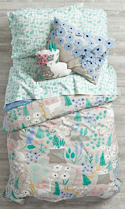 folk tale forest print bedding