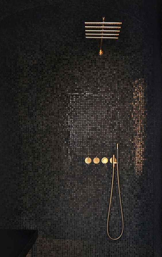 glimmering black mosaic tiles